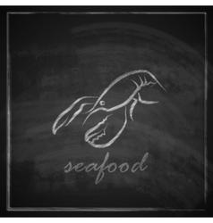 vintage with a lobster on blackboard background vector image vector image