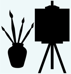 Brushes in vase and easel with empty canvas vector image vector image