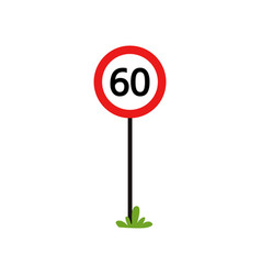 Red round sign with number 60 - indicate maximum vector