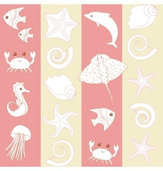 Seamless striped pattern with sealife vector image vector image