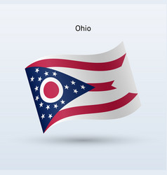 State of ohio flag waving form vector