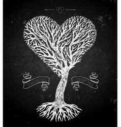 Tree crown like heart on black vector image vector image