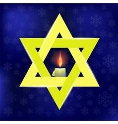 Yellow star of david and burning candles vector