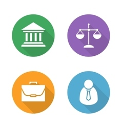 Law flat design icons set vector