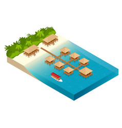 luxury overwater thatched roof bungalow in a vector image