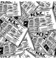 Newspaper monochrome vintage seamless background vector image