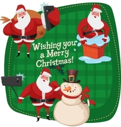 Set of Santa Clauses ready for christmas Snowman vector image vector image
