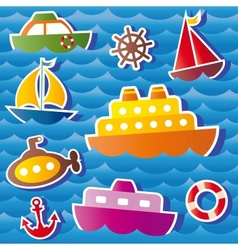 set of sea transport stickers vector image