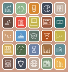 Stock market line flat icons on brown background vector image vector image