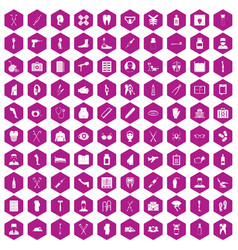 100 medical care icons hexagon violet vector