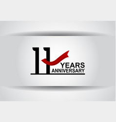 11 years anniversary design with red ribbon vector