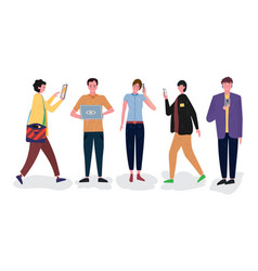 a group people who use gadgets such as vector image