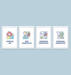 Accounting profession promotion greeting cards vector