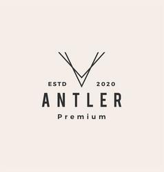 antler v letter hipster vintage logo icon vector image