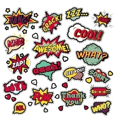 Badges Stickers in Pop Art Comic Speech Bubbles vector image