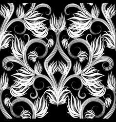 beautiful black and white floral seamless vector image