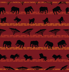 beautiful hand drawn african animals seamless vector image
