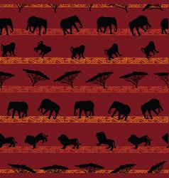Beautiful hand drawn african animals seamless vector