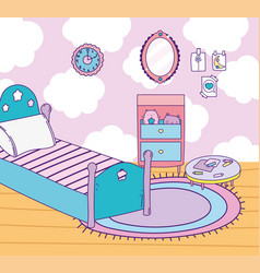 Bedroom space bed mirror drawer clock carpet and vector