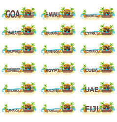 big set beach bar travel collection palm drink vector image