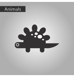black and white style icon dinosaur vector image