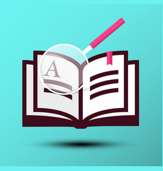 book icon with magnifying glass on blue vector image