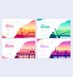 bridges of different countries monument template vector image