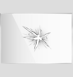 broken glass crack plastic screen 3d hole frame vector image