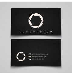 Business card template camera shutter concept vector