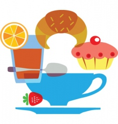 Cafe and pastries vector