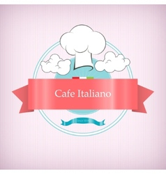Cafe logo icon with toque in the clouds vector image