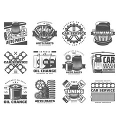 Car service spare parts auto tuning and motor oil vector