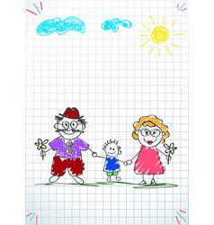 Children colorful pencil drawings of grandpa vector