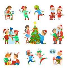 Christmas holiday people activities set vector