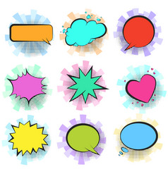 color retro comic speech bubbles with stripes vector image