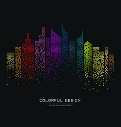 Colorful building dot design background vector