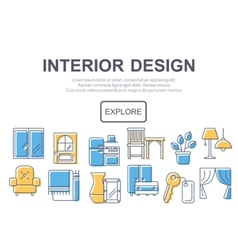 Concept of title site page or banner for interior vector