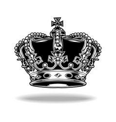 Crown black and white king queen 55 vector