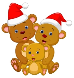 Cute bear family cartoon wearing red hat vector