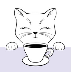cute cate face with paws and cup coffee black vector image