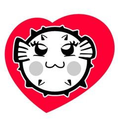 Cute puffer cartoon vector