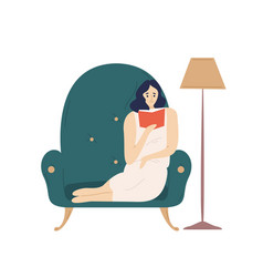cute smiling lady sitting in comfy armchair and vector image