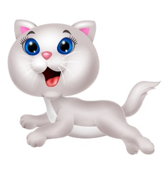Cute white cat cartoon running vector image