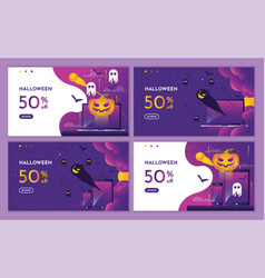 discount purple halloween night event with pumpkin vector image