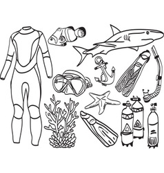 Diving equipment and sea life vector image
