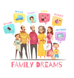 Family dreaming design concept vector