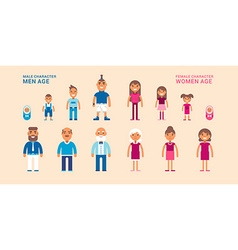 Female and male characters different ages vector