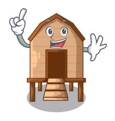 Finger chicken in a wooden cartoon coop vector