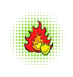 Fire and shield with tick icon comics style vector