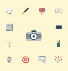 Flat icons concept photo bulb and other vector